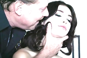 Dark-haired babe with sincere tits receives drilled hard by torrid flatfoot