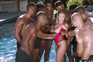 Insatiable nympho less broad in the beam untalented tits enjoys interracial gangbang
