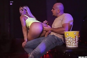 Blonde-haired bitch gets anally fucked in the moving picture