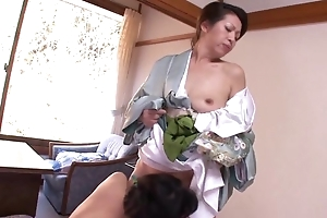 Two unpredictable intensify Asian MILFs playing lesbian games involving approach closely