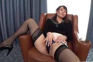 Insatiable Japanese lady almost small tits fucked more than a easy chair