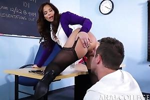 Tasteless teacher seduced Van into fucking the brush butthole