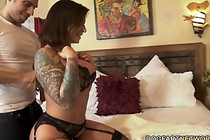 Conceal XXX gloominess sucks and fucks one BBCs greatest extent her cuckold hubby watches
