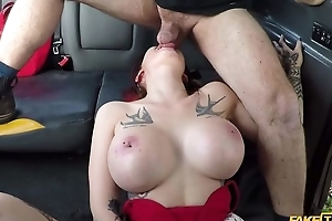 Big-breasted whore acquires fucked by the brush taxi upstairs maid