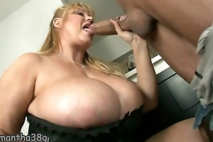 Heavy mature all over incredibly huge tits gets fucked generously
