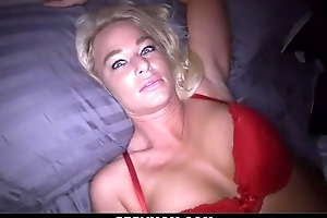 Perverted blonde mom sucks stiff shaft coupled with gets screwed in POV