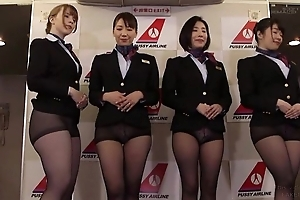 Group of Asian stewardesses getting fucked good together with proper